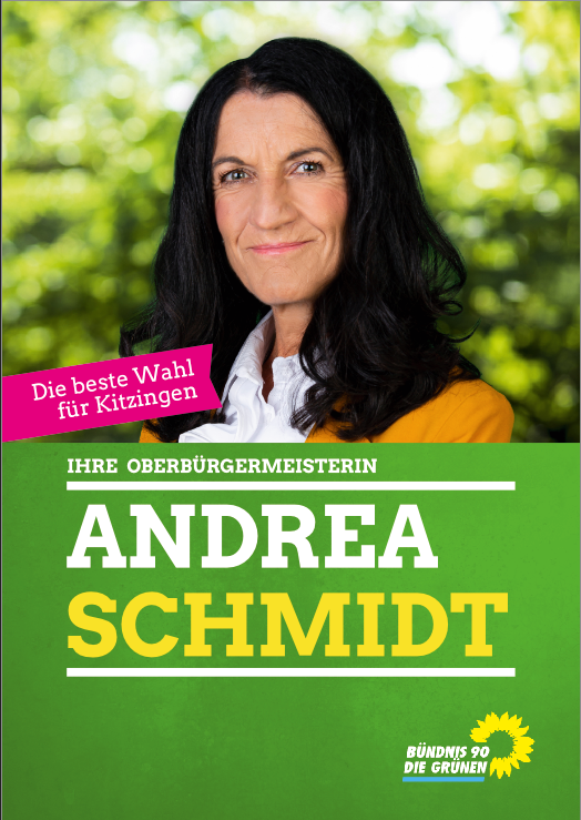 Wahlplakat GRÜNE OB-Kandidatin Andrea Schmidt