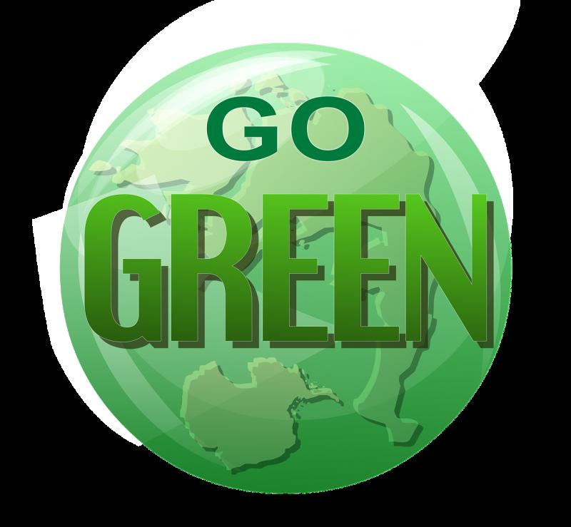 """Erdkugel mit Schrift """"Go Green"""""""