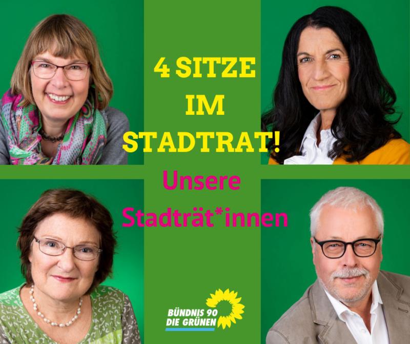 Die Grüne Stadtratsfraktion Kitzingen: v.lks. im Uhrzeigersinn: Gisela Kramer-Grünwald, Andrea Schmidt, Klaus Sanzenbacher und Christa Büttner