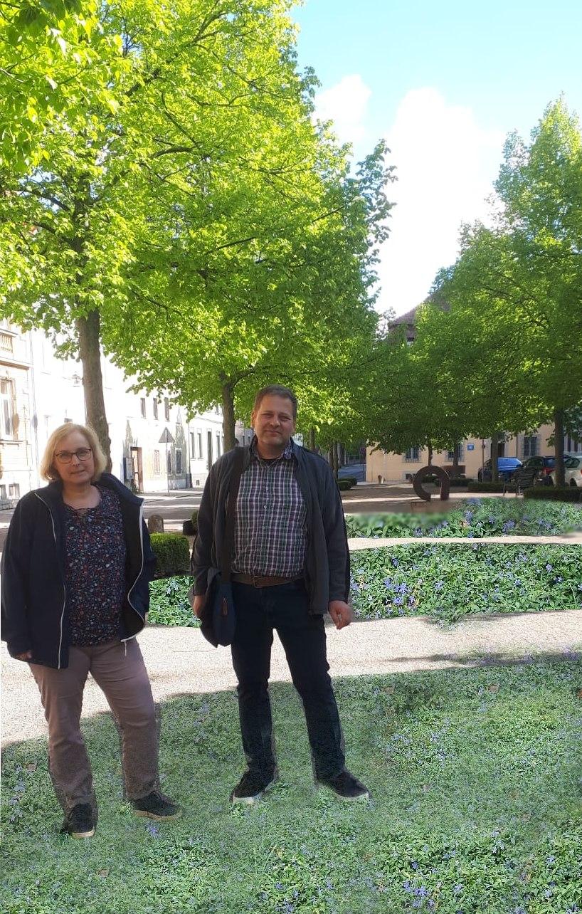Fotomontage: Stephanie Schumacher und Michael Zink auf begrüntem Landwehrplatz euen.